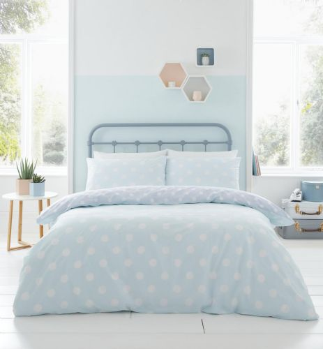 Catherine Lansfield Polka Dot Duck Egg Bedding Set
